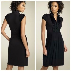 BCBGMAXAZRIA Tuxedo Trim Matte Jersey Dress Black